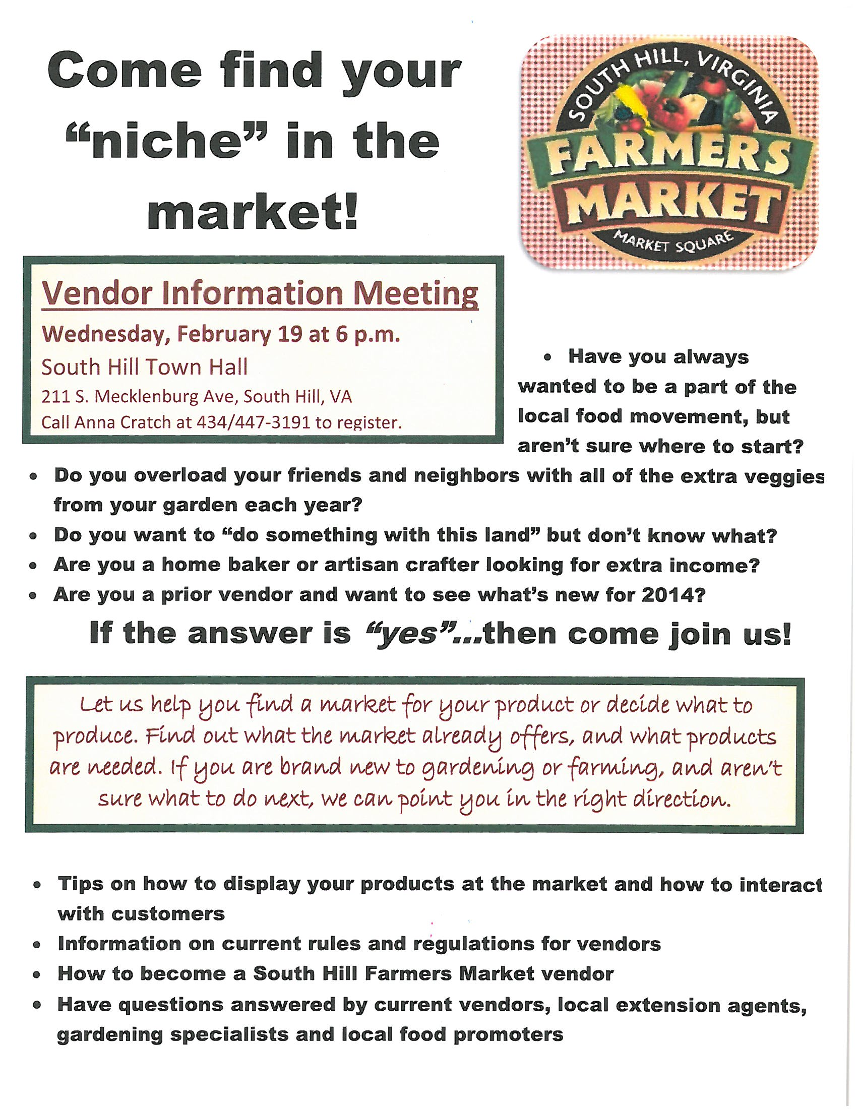 South Hill Farmers Market Meeting