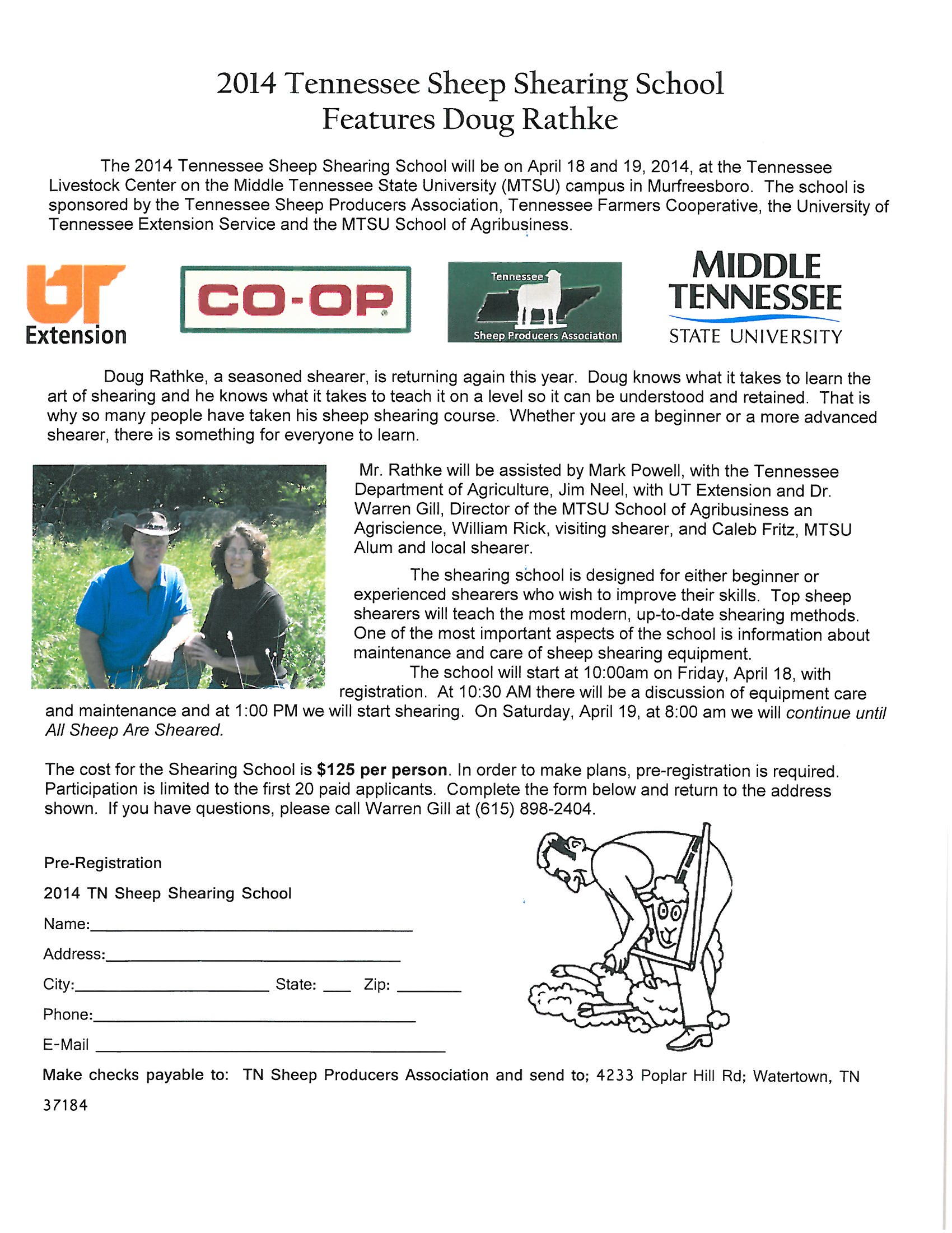 2014 Tennessee Sheep Shearing School Features Doug Rathke