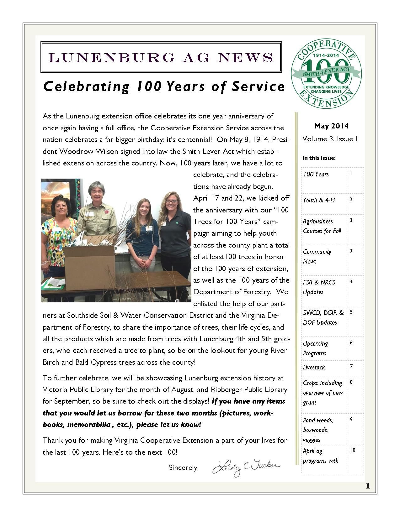 May 2014 Newsletter Page 1