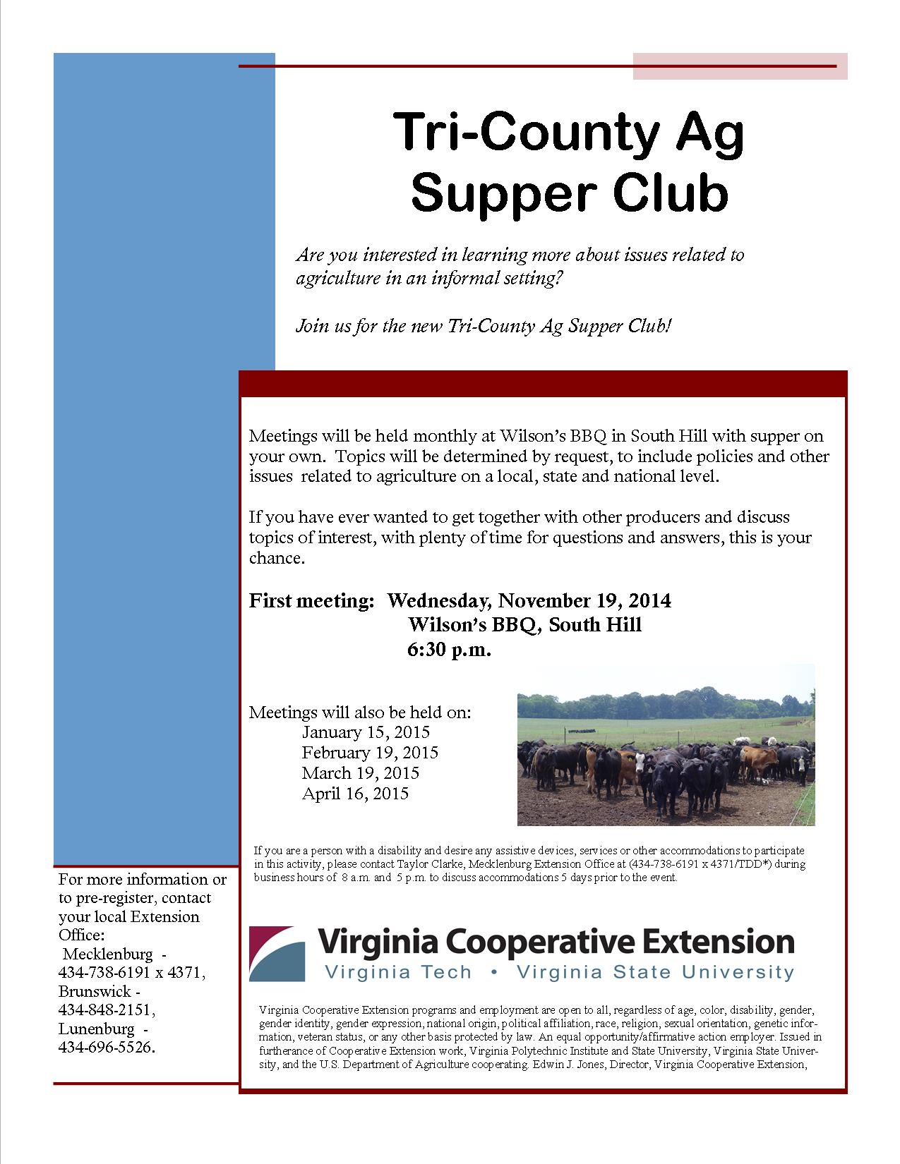 Ag Supper Club Flyer I