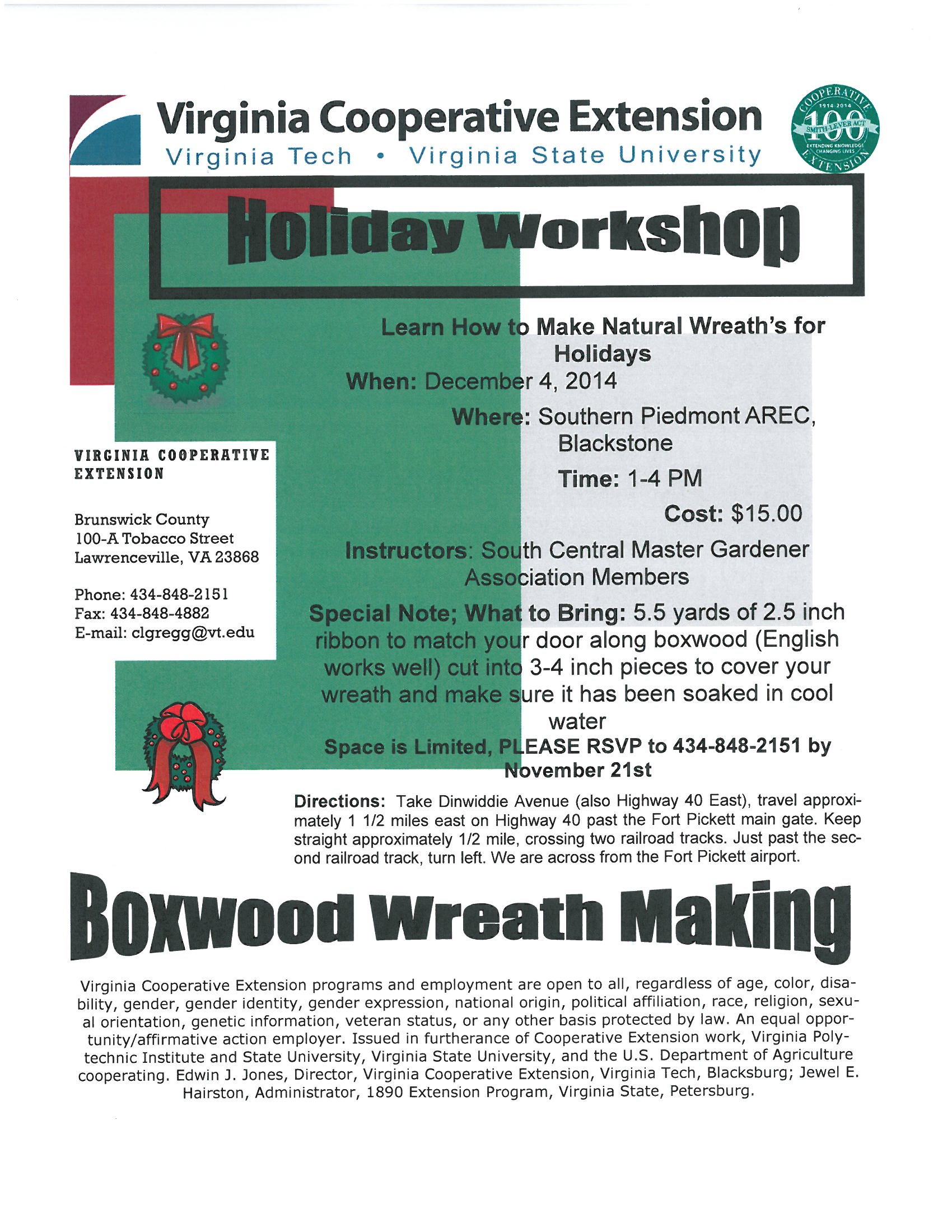 Holiday Wreath Workshop 2014