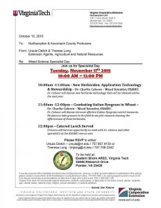Specialist Day will be held at the Eastern Shore AREC on Tuesday Nov. 17th.