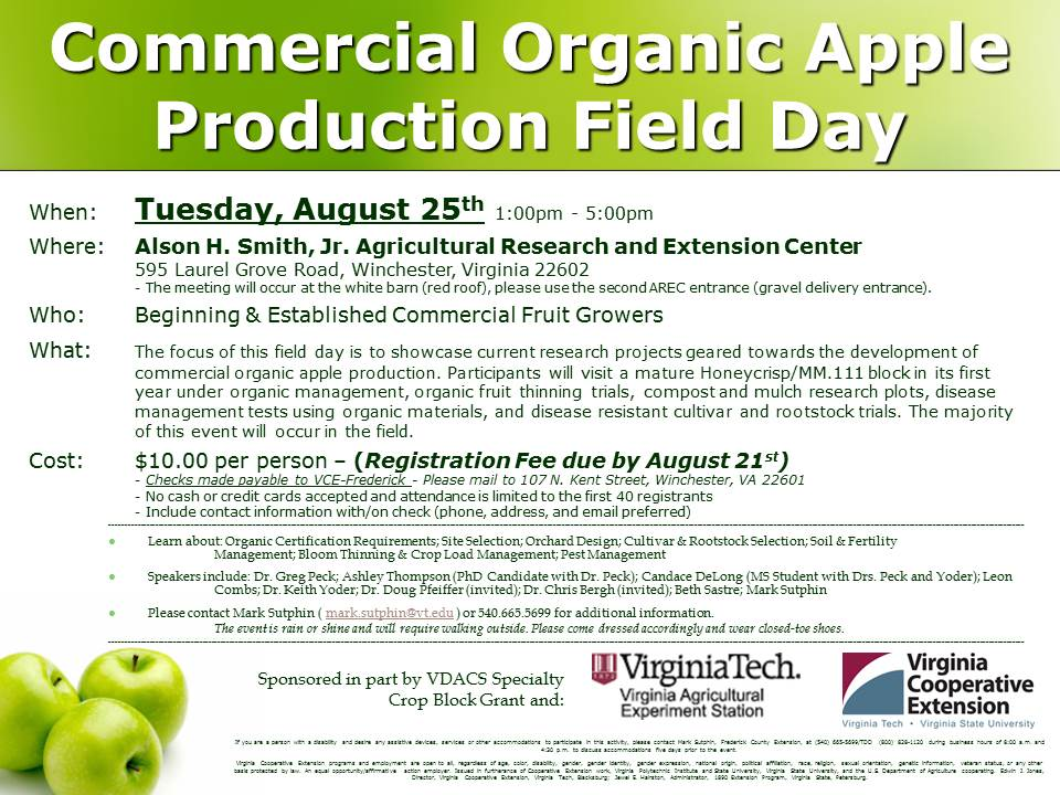 Organic Apple Production Field Day 8-25-15